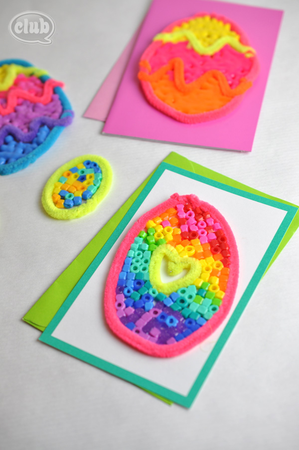 Melted Bead and Pipe Cleaner Easter Egg Cards