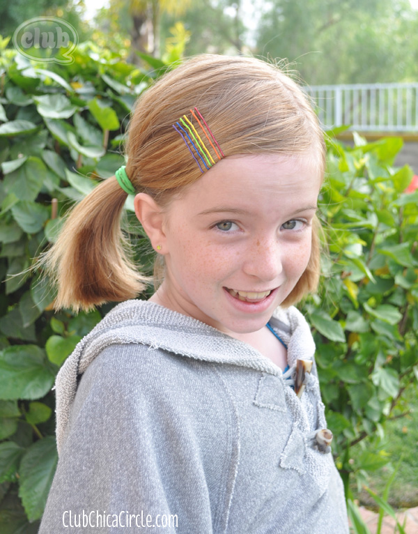 Tween with Rainbow hair accessory