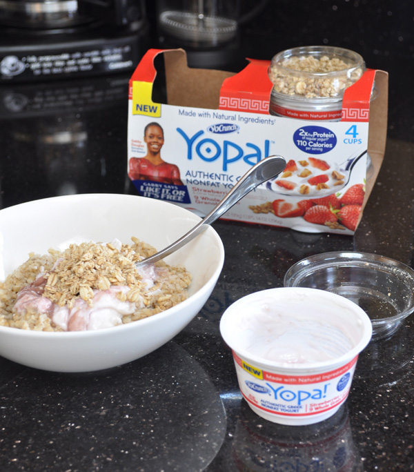 Yopa strawberry greek yogurt breakfast