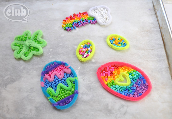 perler bead spring ornaments before melting @clubchicacircle