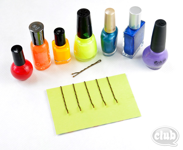 rainbow Nail polish and bobby pins setup