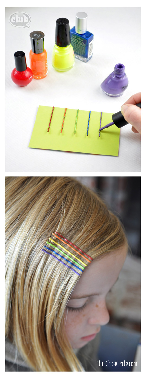 rainbow nail polish painted bobby pins tween fashion copy