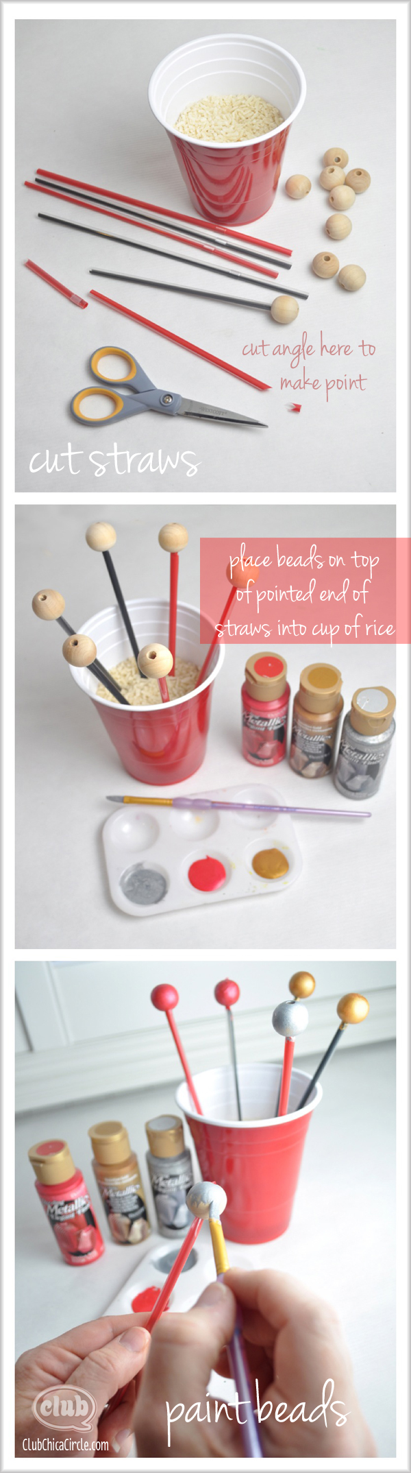 Easy painting wooden beads tutorial @clubchicacircle