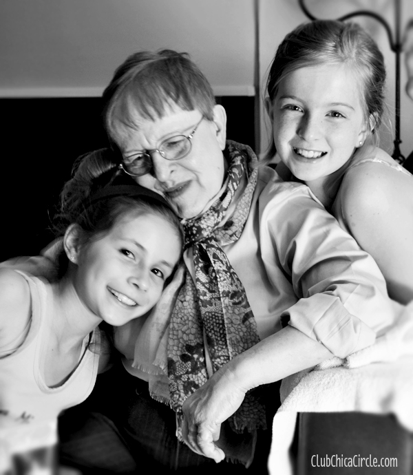 Grandma and tween girls celebrating mother's day portrait