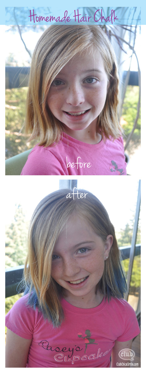 Homemade hair chalk on tween girl before and after