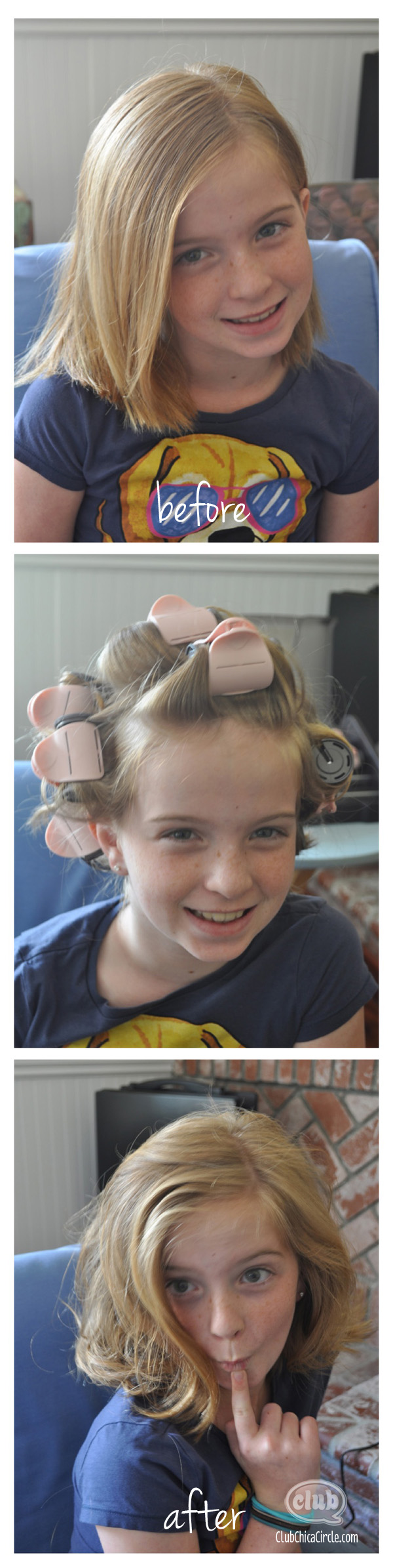 hot rollers before and after on tween girl