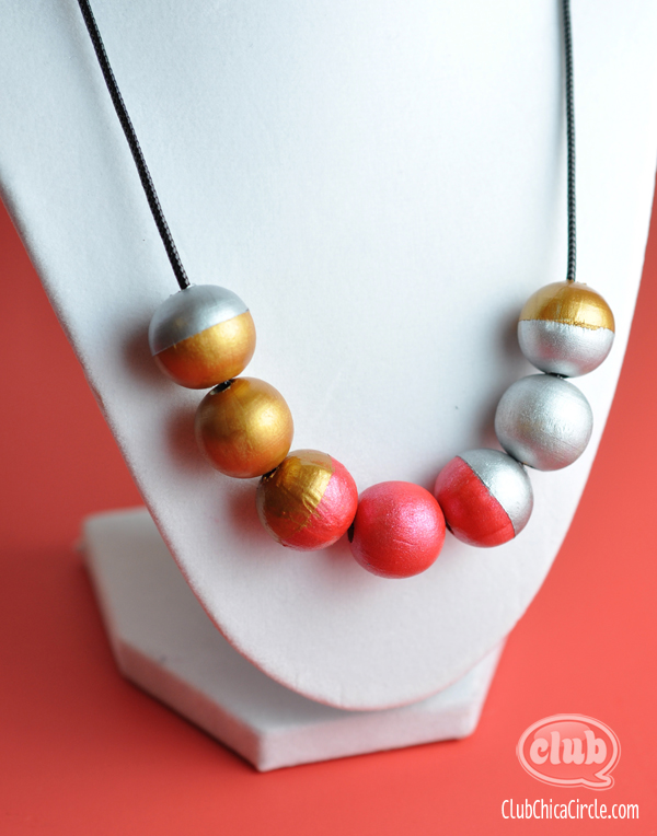 painted wooden bead necklace gift idea