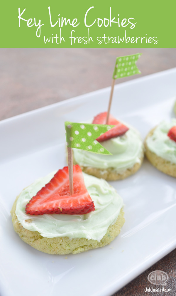 Key Lime cookies with Fresh Strawberries
