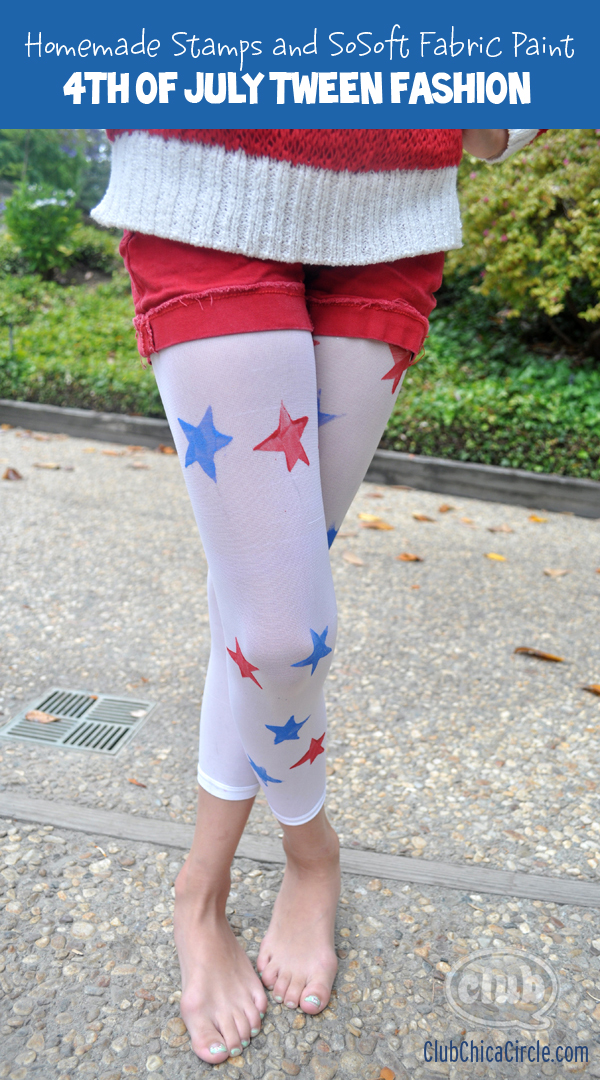 4th of July fashion tights craft for tween girls