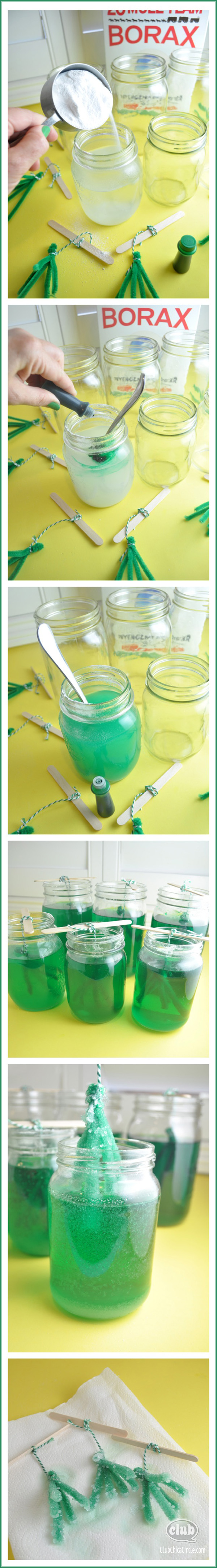 Emerald borax crystals DIY
