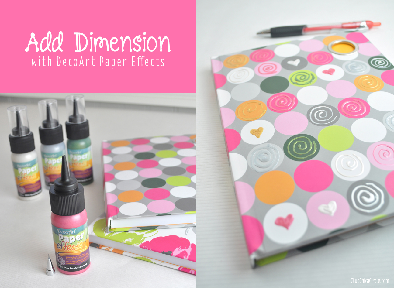 Decorated Polka dot journal with Paper Effects from ClubChicaCircle