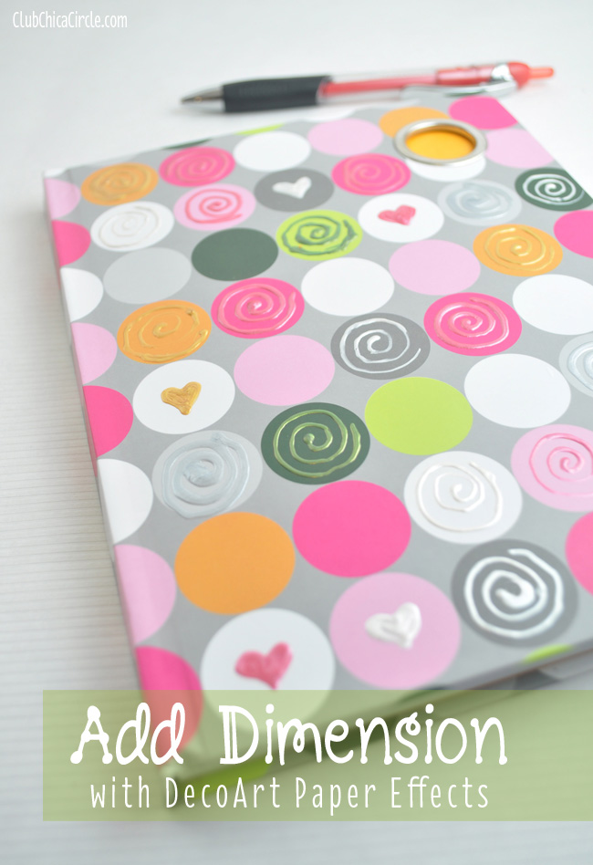 Decorated Polka dot journal with Paper Effects