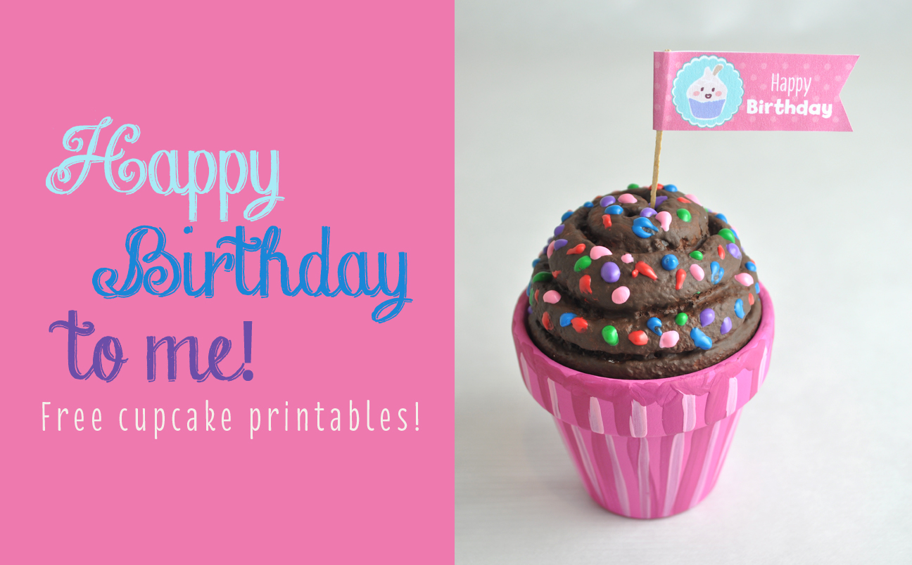 Happy Birthday Cupcake Flags Free Printable