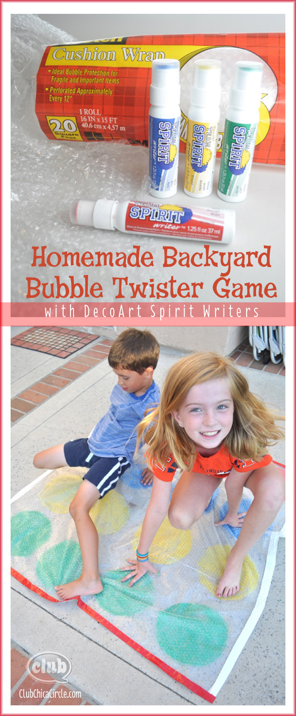 Homemade Backyard Bubble Twister Game with DecoArt Spirit Writers