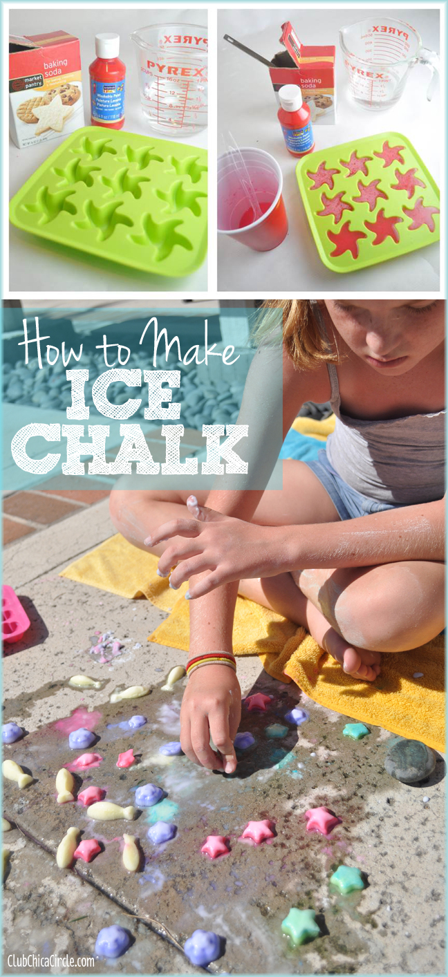How to Make Ice Chalk with Baking Soda and Washable Paint