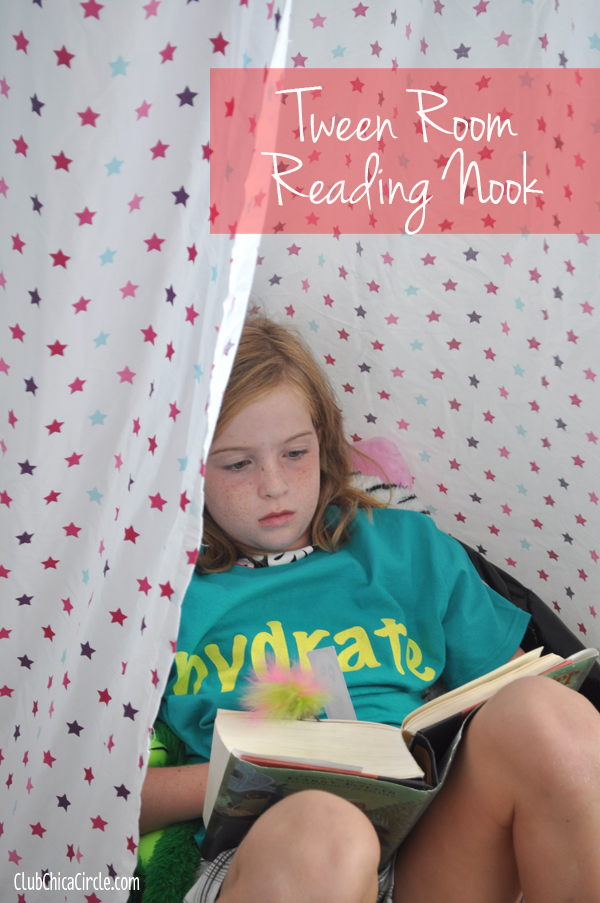 Tween girl reading in curtain nook @clubchicacircle