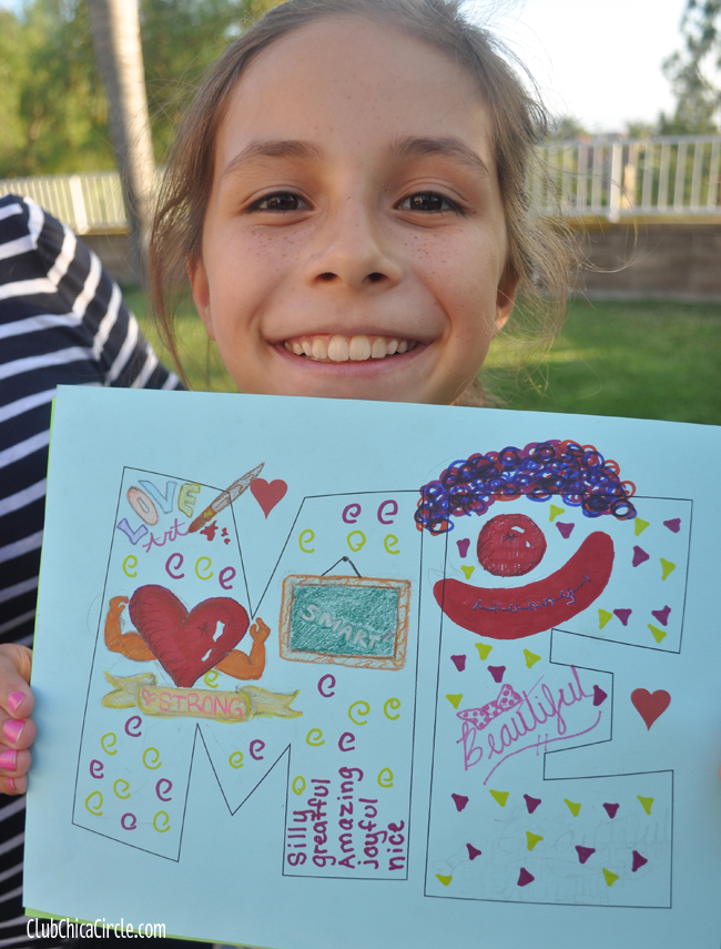 Tween girl self-esteem art activity