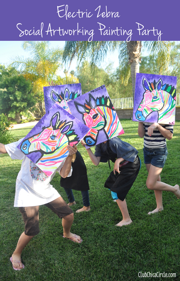 social artworking zebra paintings from tween girls