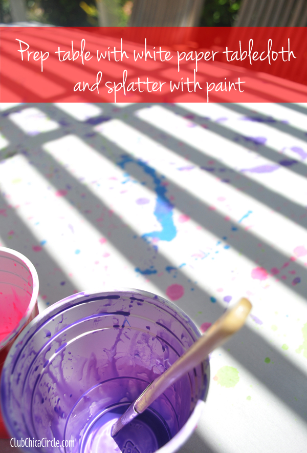 splatter table cloth for art party @clubchicacircle