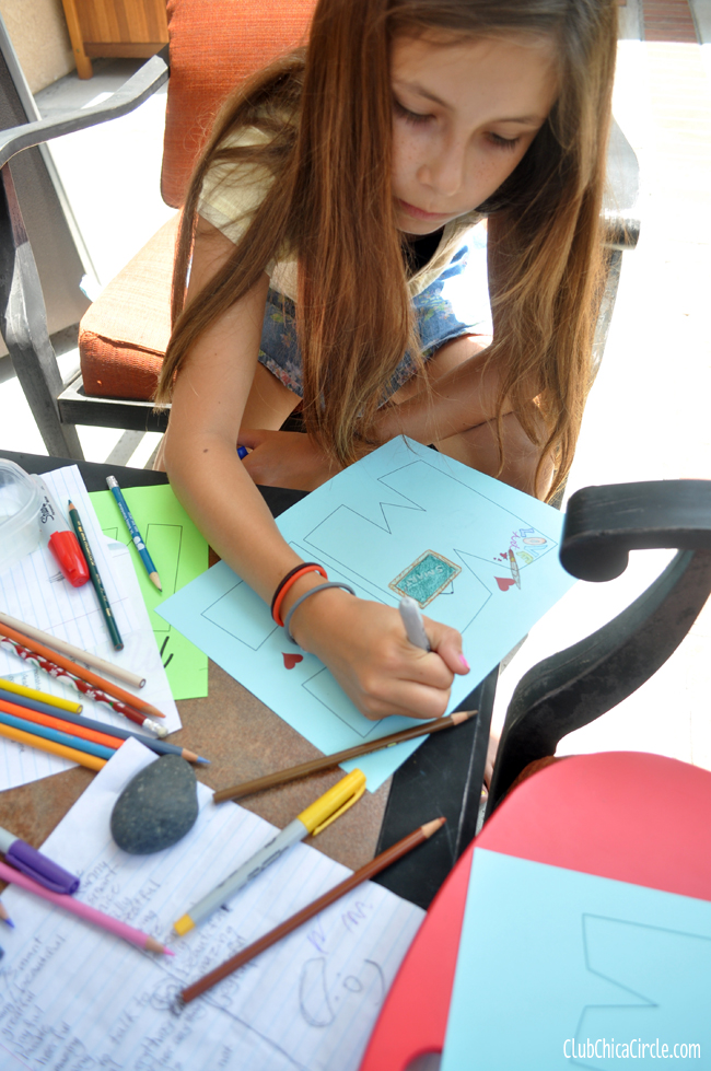 tween girl working on self-esteem activity