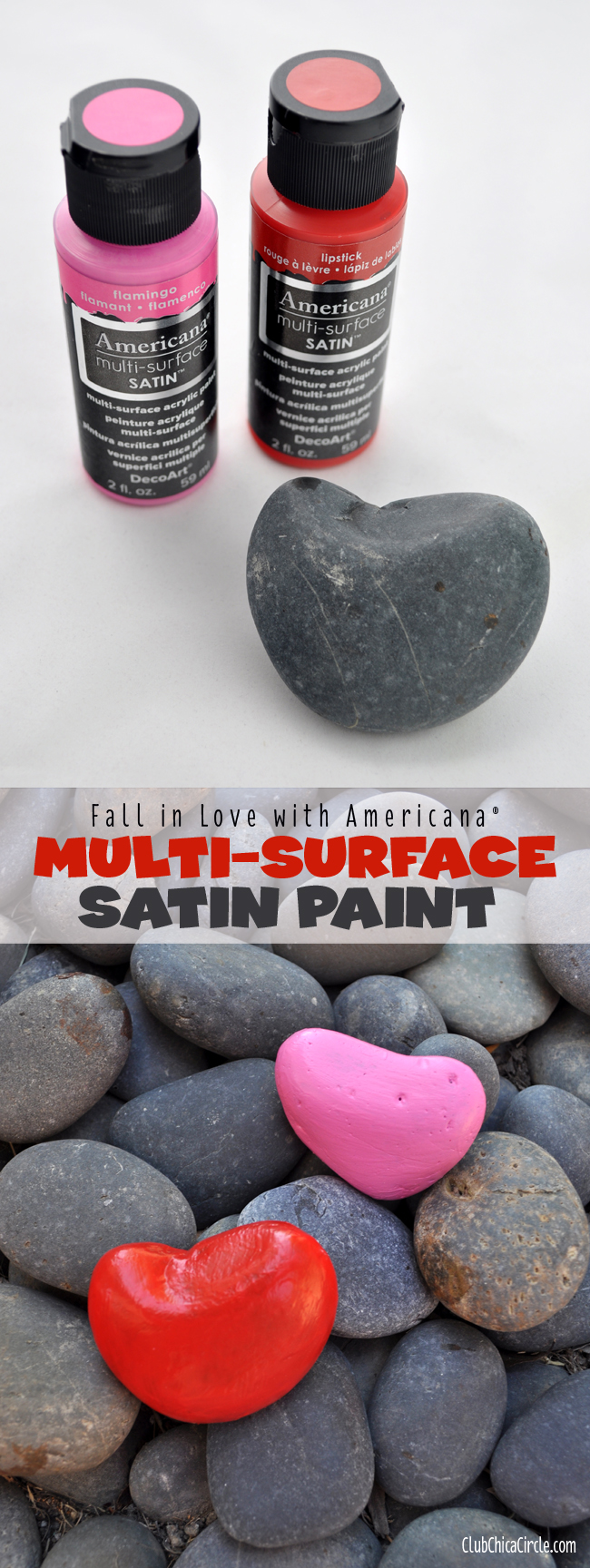 Americana Multi-surface heart shaped painted rocks