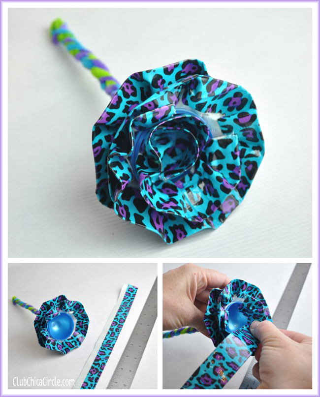 Plastic Egg Duct Tape Flower finished