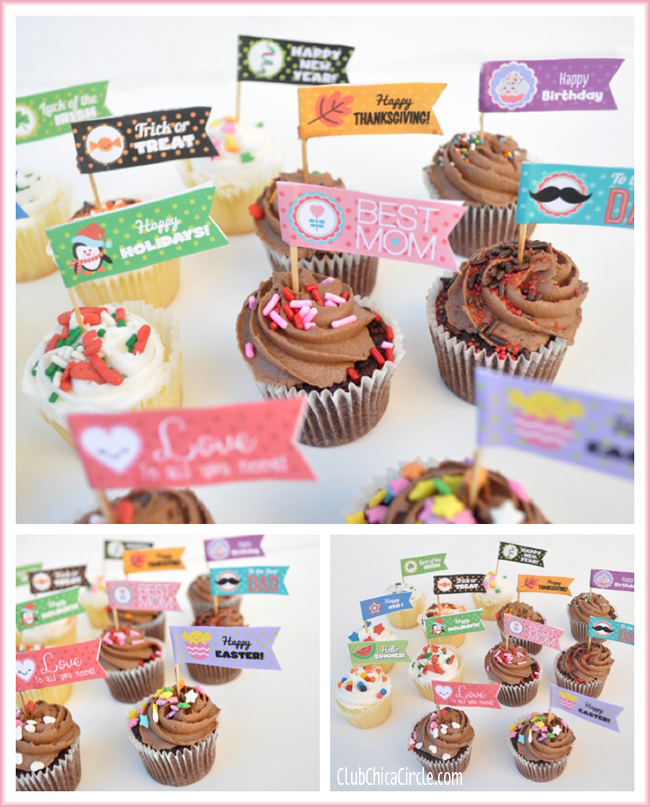 cupcake party flags free printable for every holiday