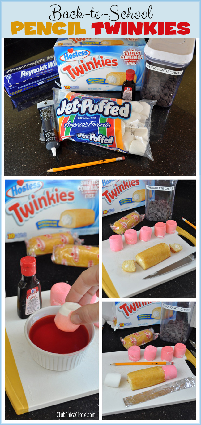 Back-to-School Pencil Twinkies food craft @clubchicacircle