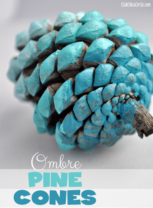 Blue Ombre Painted Pine Cone Fall Craft Idea