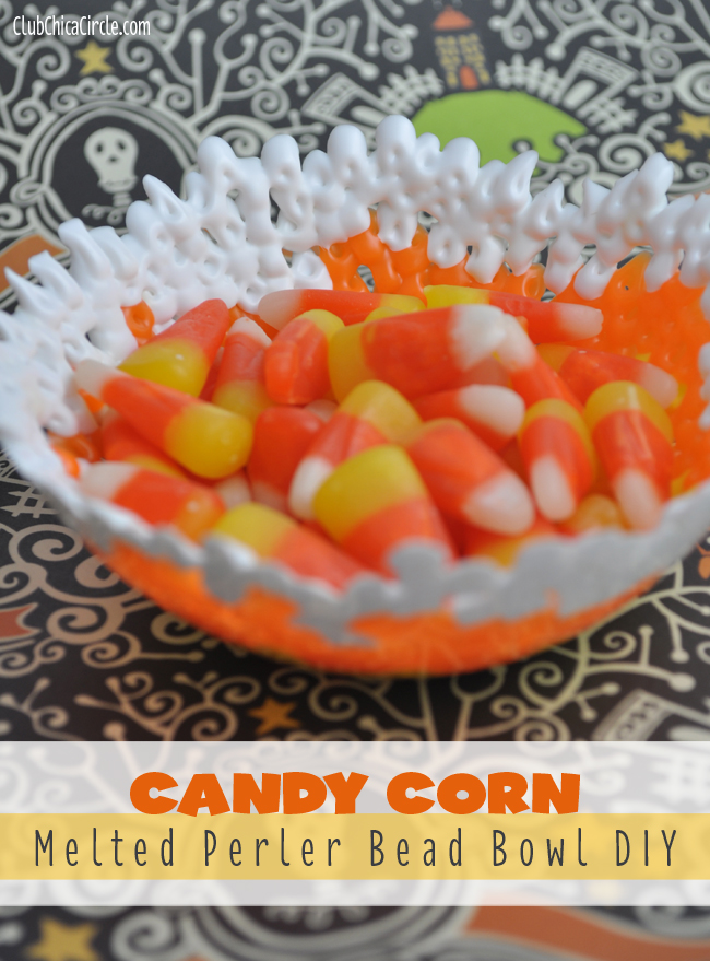Candy Corn Melted Perler Bead Bowl DIY
