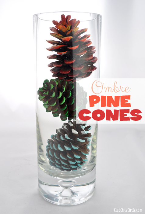 Ombre Painted Pine Cone Fall Vase Decoration