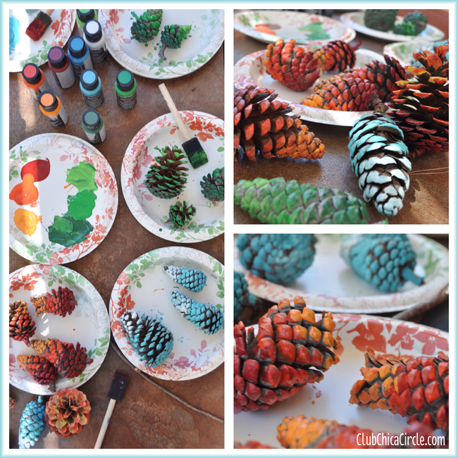 Painting Ombre pine cones