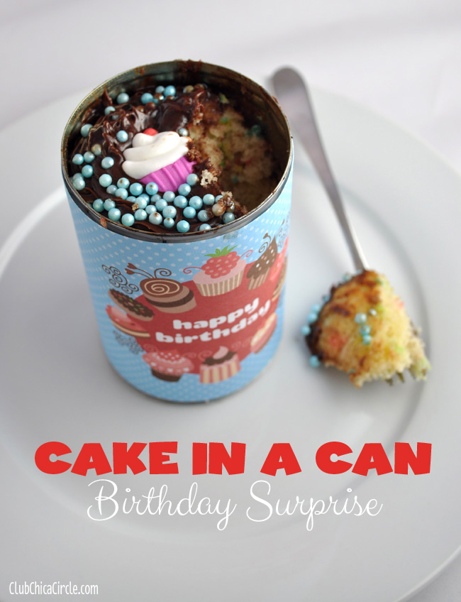 birthday cupcake in a can DIY
