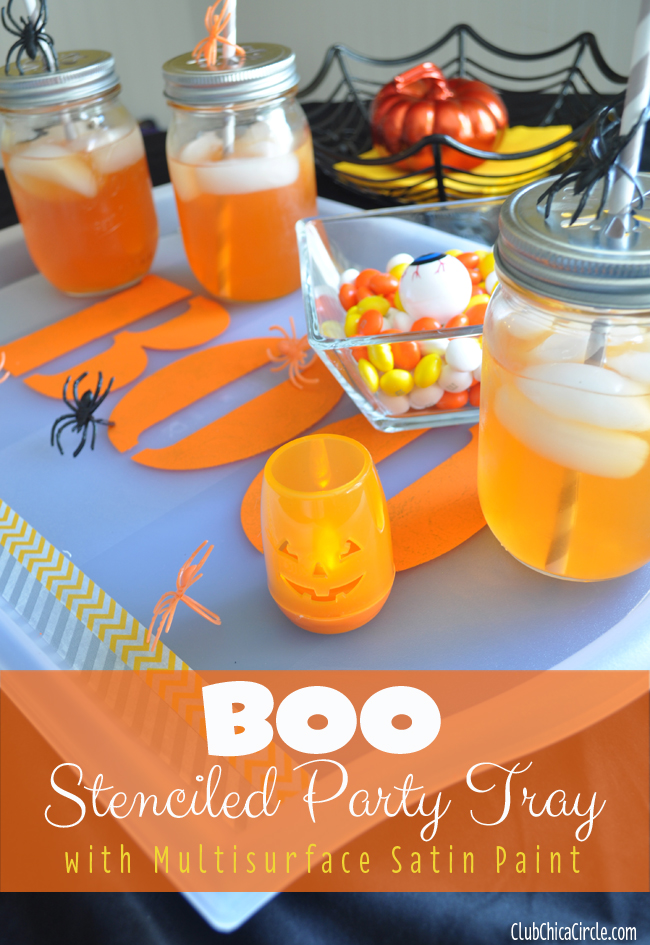 Boo Stenciled Halloween party tray craft