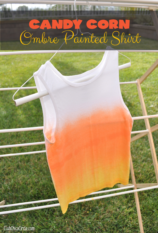 Fabric Spray Paint Ideas Part - 39: Candy Corn Fabric Spray Painted Shirt Halloween Craft Idea