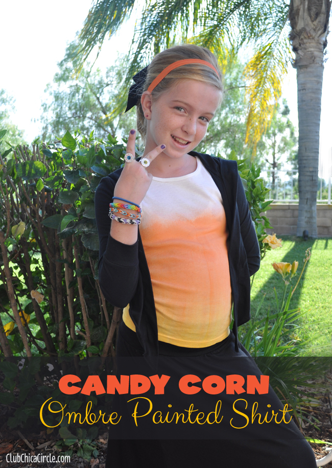Candy Corn Ombre Ombre Fabric Spray Painted Shirt