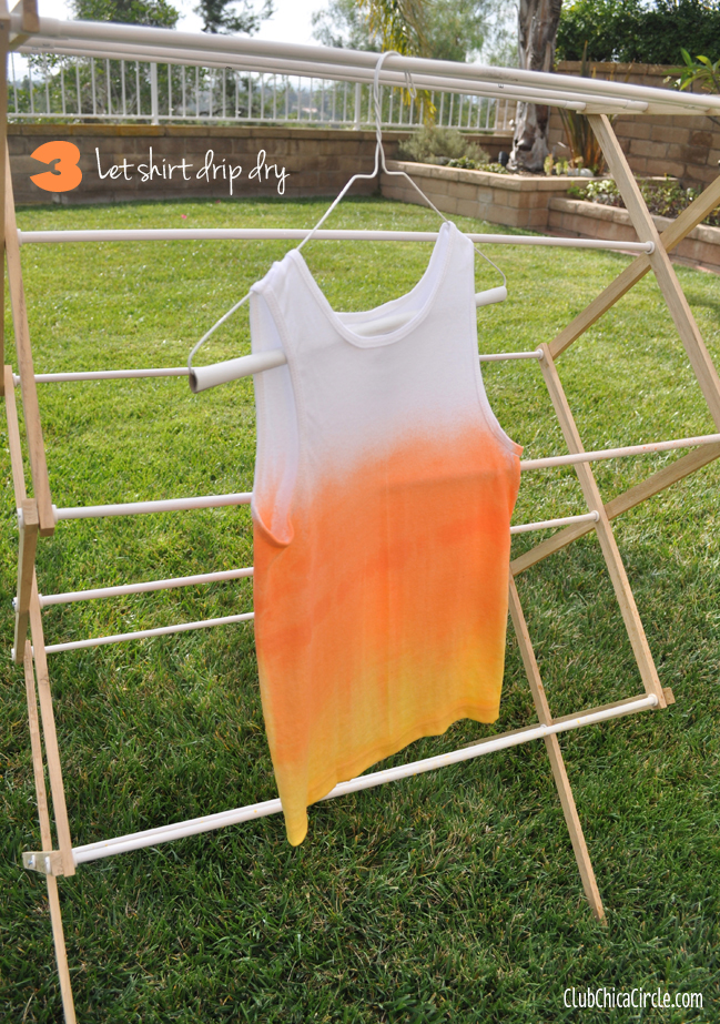 Candy Corn Ombre Painted Shirt DIY step 3