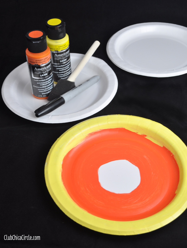 Candy Corn Paper Plate Gift Tag Craft