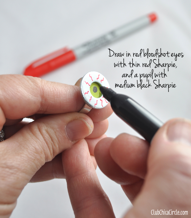 Halloween eyeball ring craft how to @clubchicacircle