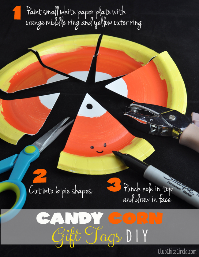 How to make candy corn paper plate gift tags