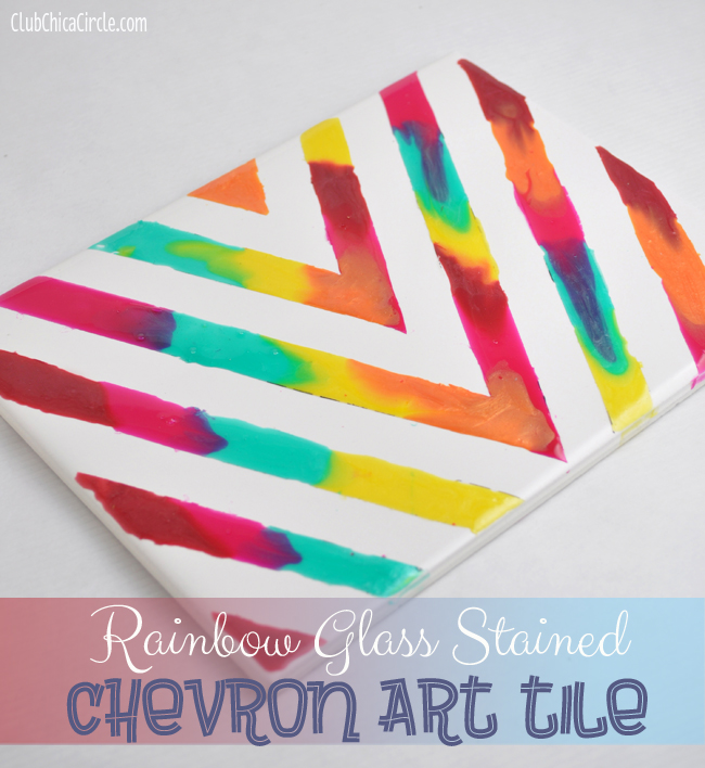 Rainbow glass stained art tile project for Cool fun easy crafts