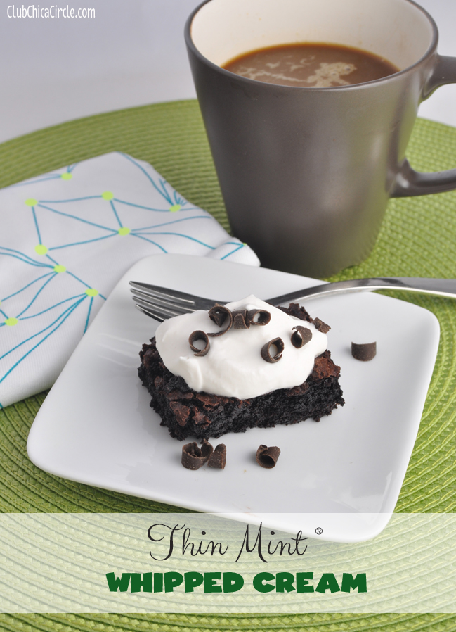 Thin Mint Flavored easy homemade whipped cream with coffeemate