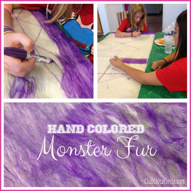 coloring monster fur for Monsters U costume