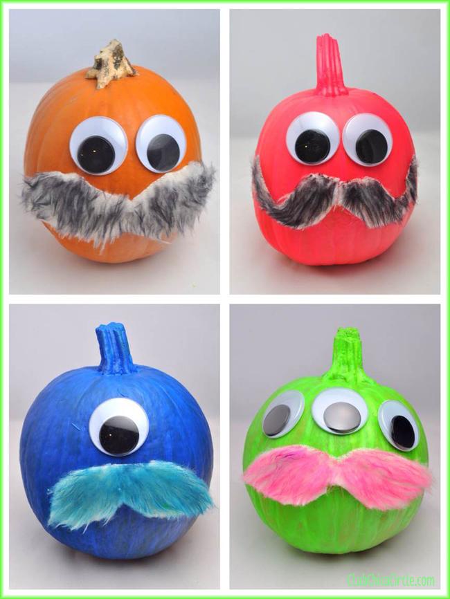 Neon Painted Pumpkin Mustache Monsters