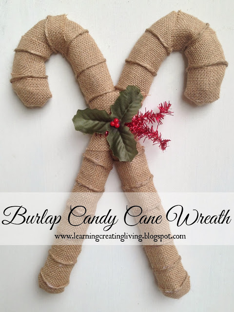 Burlap candy cane wreath