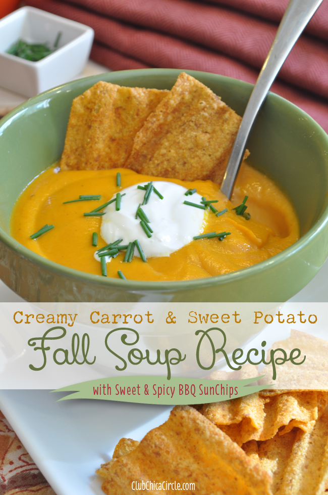 Creamy Carrot & Sweet Potato Fall Soup Recipe with #SunChipsForAll