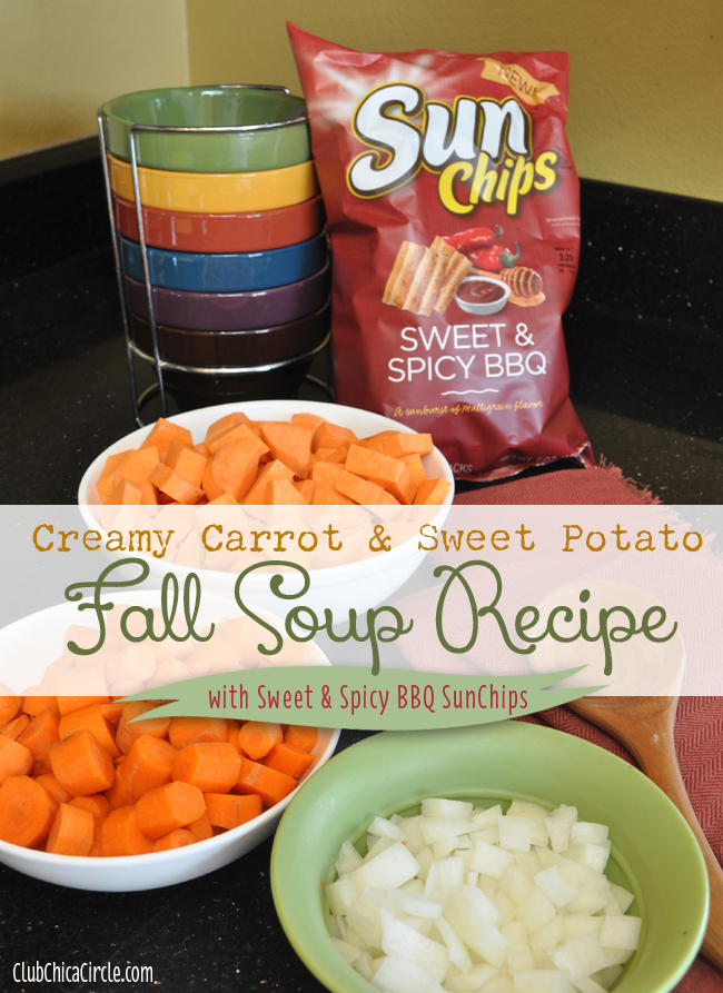 Creamy Carrot and Sweet Potato Soup with SunChips recipe idea