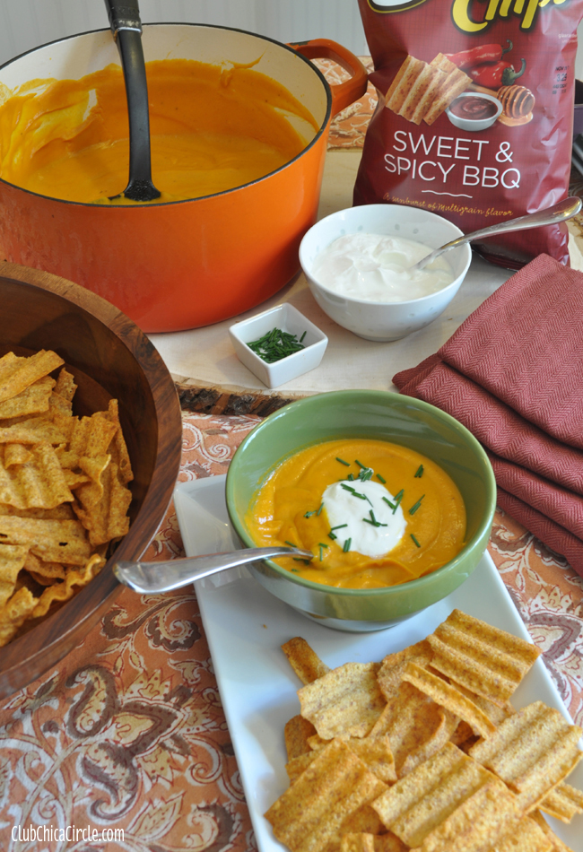 Fall soup recipe paired with #SunChips Sweet & Spicy BBQ