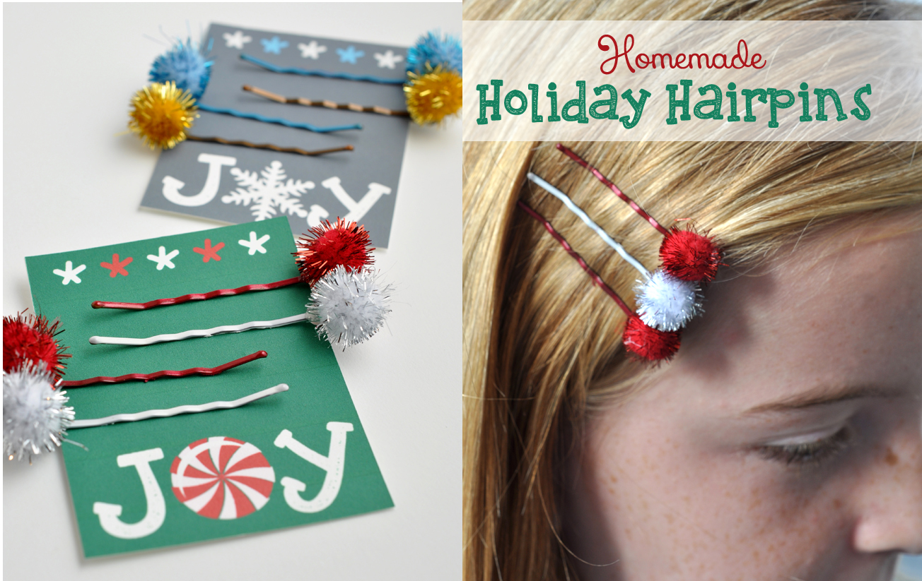 Homemade Holiday Hairpins tween craft idea