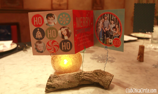 Homemade wood log holiday card holder